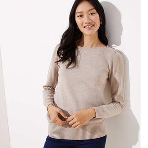 loft stitchy puff sleeve sweater - beige cream